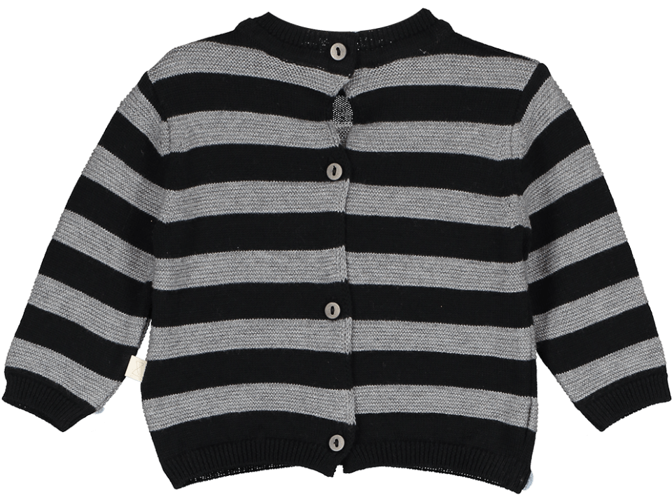 Mini Sibling Black & Grey Tricot Sweater/Cardigan - TAYLOR + MAX