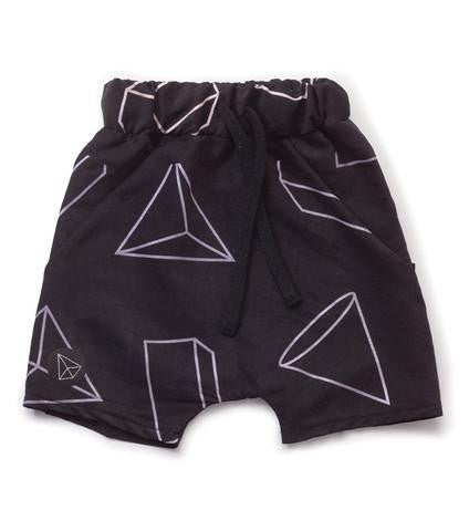 NUNUNU Black Geometric Baggy Surf Shorts - TAYLOR + MAX