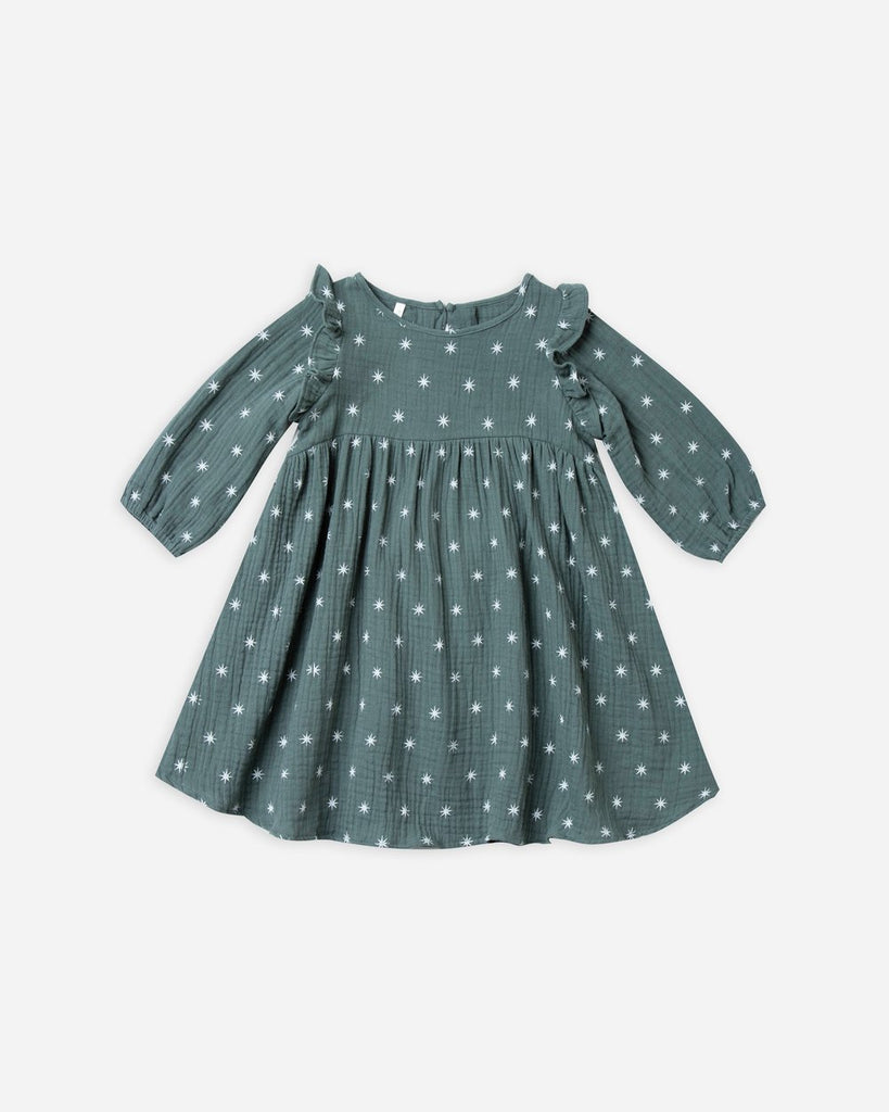 Rylee & Cru Northern Piper Dress from the Snowbird Fall collection. This dress is spruce with an all over star print. Made from a very soft cotton that is sure to be your daughter's favorite.