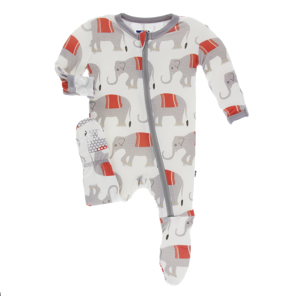 Kickee Pants Print Footie w/Zipper Natural Indian Elephant - TAYLOR + MAX