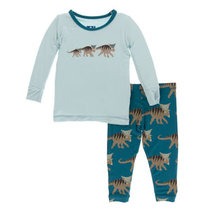 Kickee Pants Print Long Sleeve Pajama Set | Heritage Blue Kosmoceratops Family
