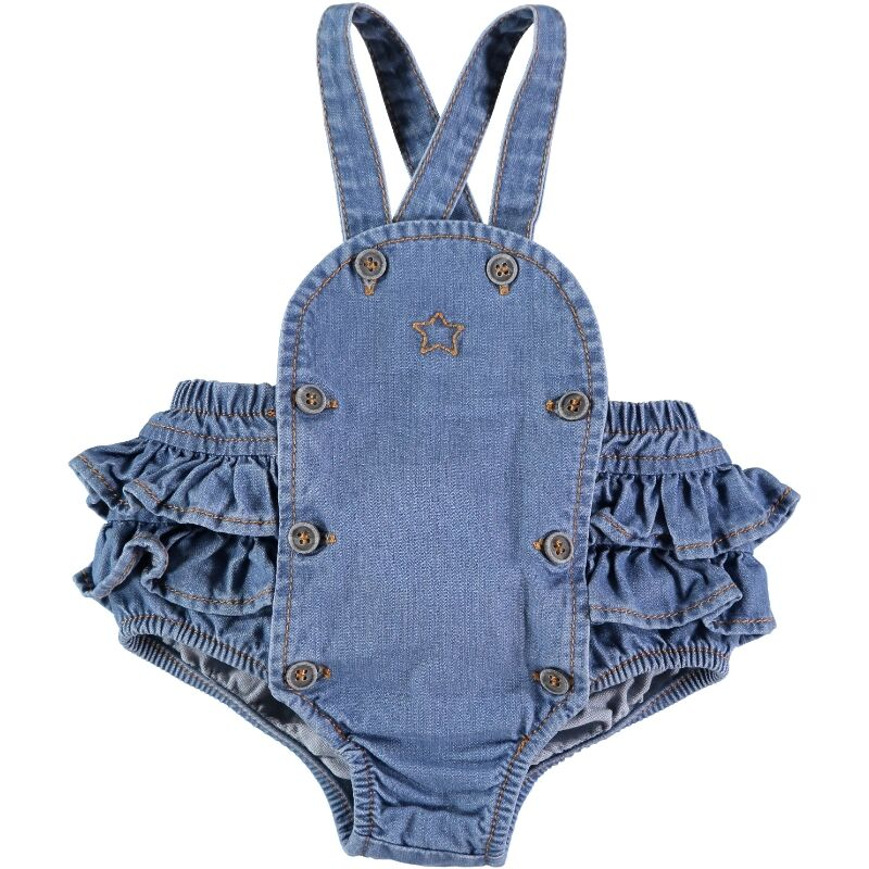 Tocoto Vintage Recycled Denim Ruffled Bodysuit