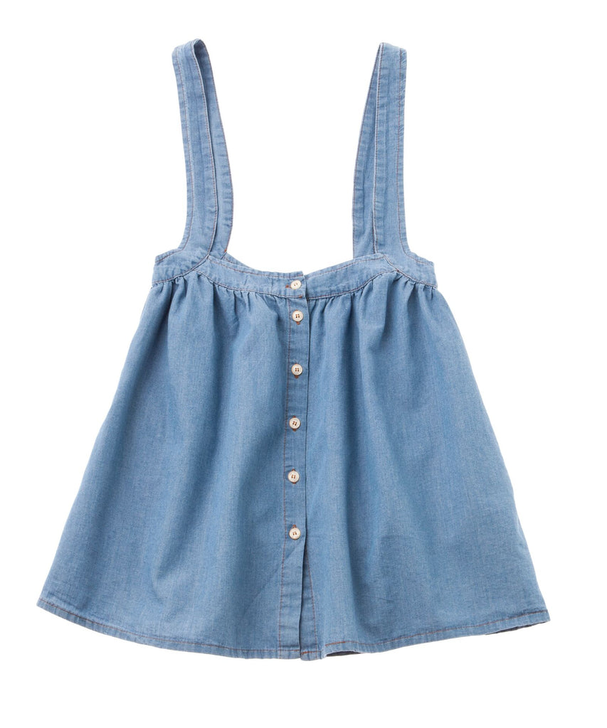 Tocoto Vintage Recycled Denim Skirt with Suspenders