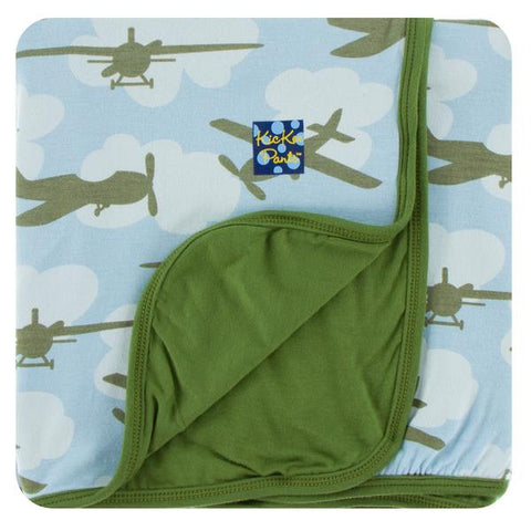 Kickee Pants Print Toddler Blanket- Pond Airplanes