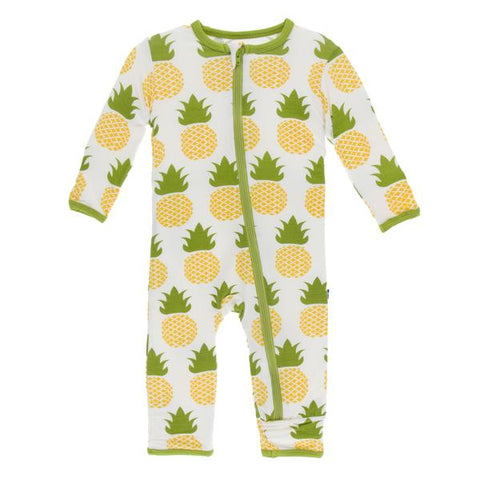 Kickee Pants Print Coverall with Zipper Pineapple