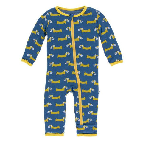 Kickee Pants Coverall with Zipper Twilight Pretzel Pup