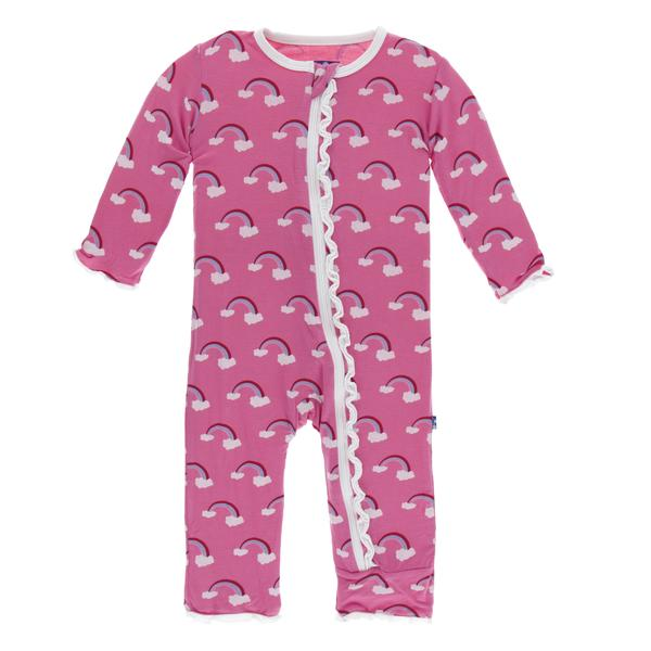 Kickee Pants Classic Ruffle Zipper Coverall- Flamingo Rainbow