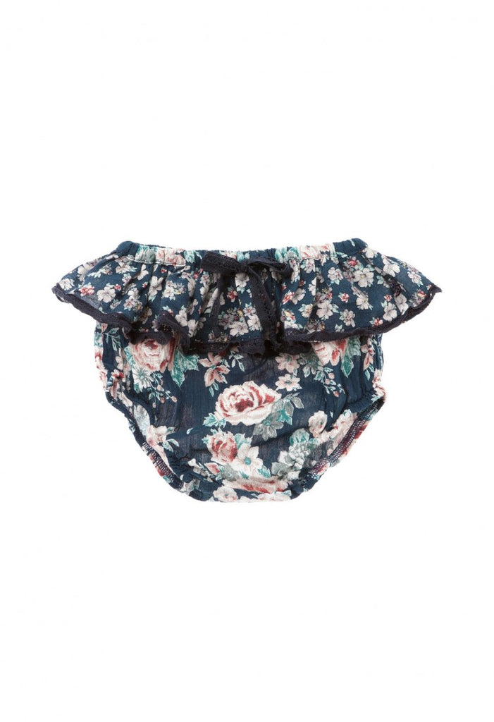 floral bloomers trimmed in black lace detail. Made from repurposed vintage textiles and handmade in Portugal.
