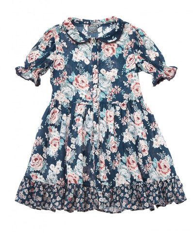 Tocoto Vintage Peter Pan Collar Flowers Dress