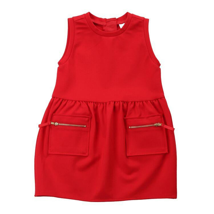 Egg Pointe Holiday Dress in Red. Sleeveless dress with two front pockets that zip. - TAYLOR + MAX