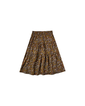 Load image into Gallery viewer, Dark Floral Tiered Midi Vintage Skirt