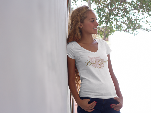 Bondi Beach  - Womens V-Neck T-Shirt - Mojo Downunder