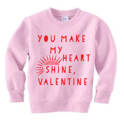 Red on Pink Heart Shine Crewneck sweatshirt
