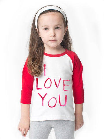 I LOVE YOU/LOVE YOU MORE Red Sleeved Raglans