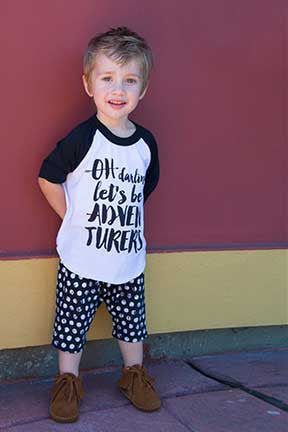 Let's Be Adventurers Calligraphy Black & White kid's baseball tee