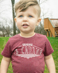 Sharing is Caring illustrated kids tee