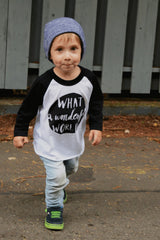 Wonderful World Black & White Kids Raglan