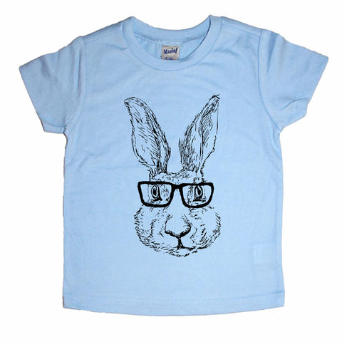 Hipster Easter Bunny Illustrated Kids tee shirt