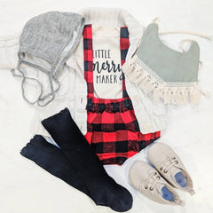 Buffalo plaid suspender shorties