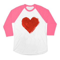 Painted heart in red on baseball tee