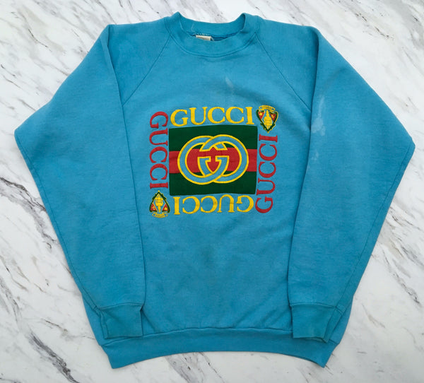 4cead5f86b1 Gucci 90 s Bootleg Crewneck L XL  Baby Blue  – Elevated Vintage