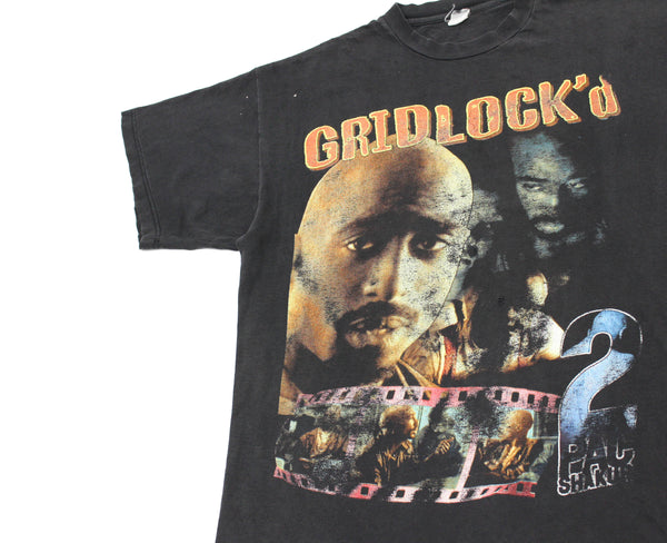 2Pac 90s 'Gridlock'd Bootleg Tribute' XL *Faded & Distressed*