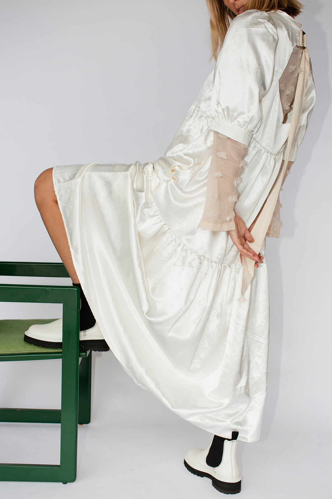 ESTHER DRESS - CREAM SATIN