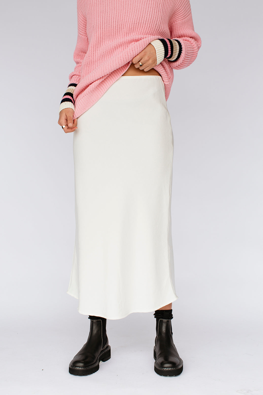 SOPHIA SLIP SKIRT - CREAM STRIPE