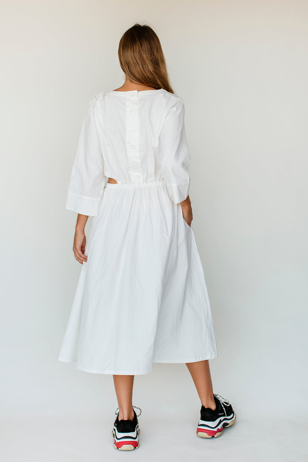 BELLE CUT OUT DRESS - OFF WHITE