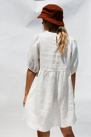 DARLA MINI DRESS - WHITE LINEN