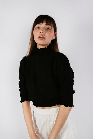 DOM TOP - BLACK CRINKLE