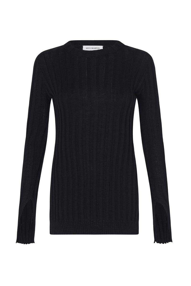 FRANKIE KNIT SPLIT TOP - BLACK