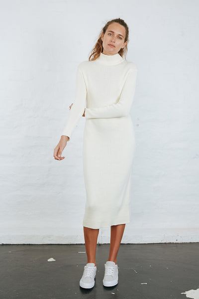 NELLA KNIT DRESS - OFF WHITE