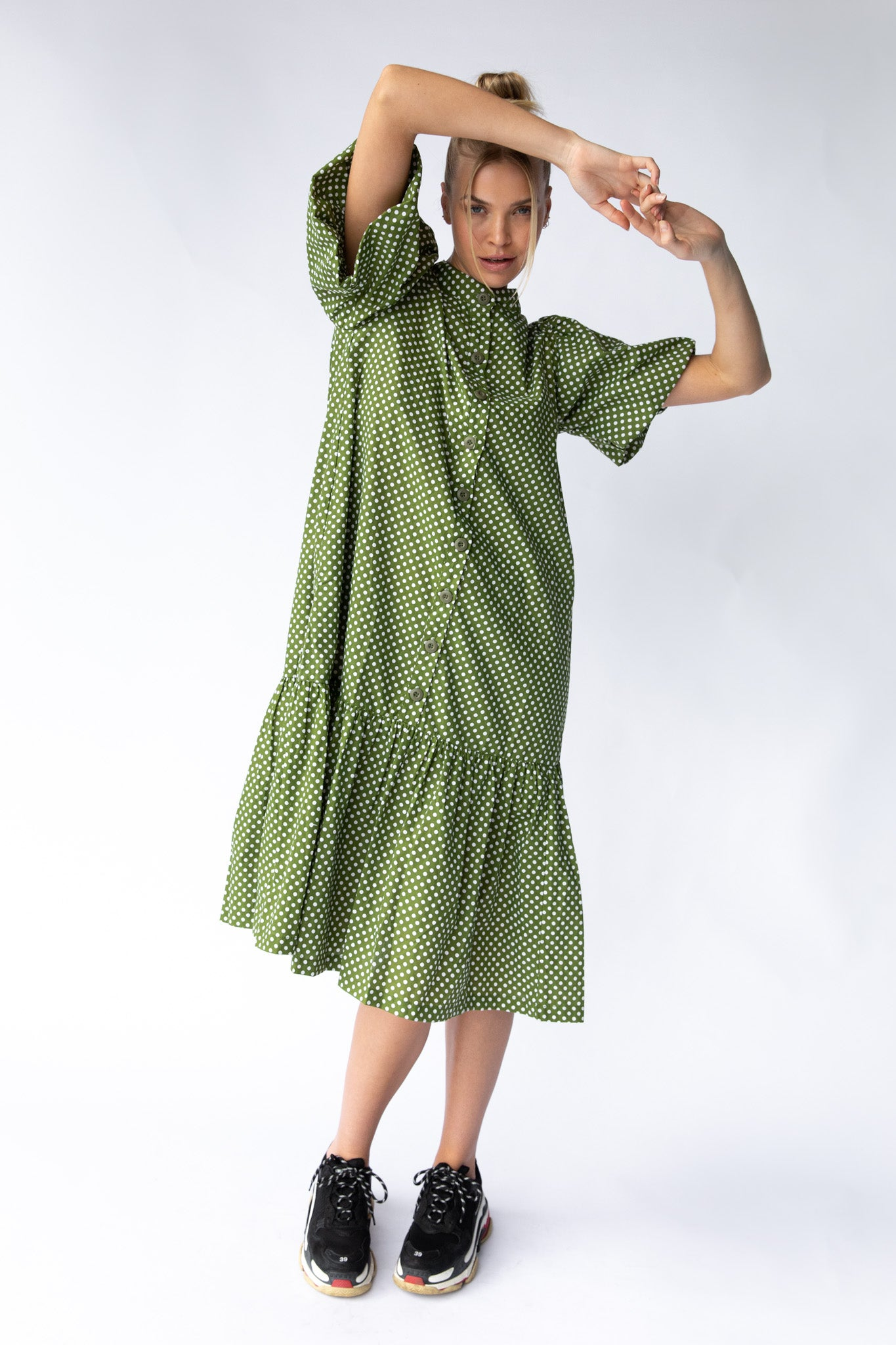 WALDEN DRESS - GREEN POLKA DOT