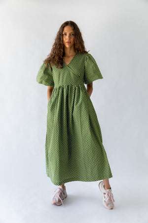 KAYO WRAP DRESS - GREEN POLKA DOT