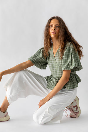 KAYO WRAP TOP - MOSS CHECK