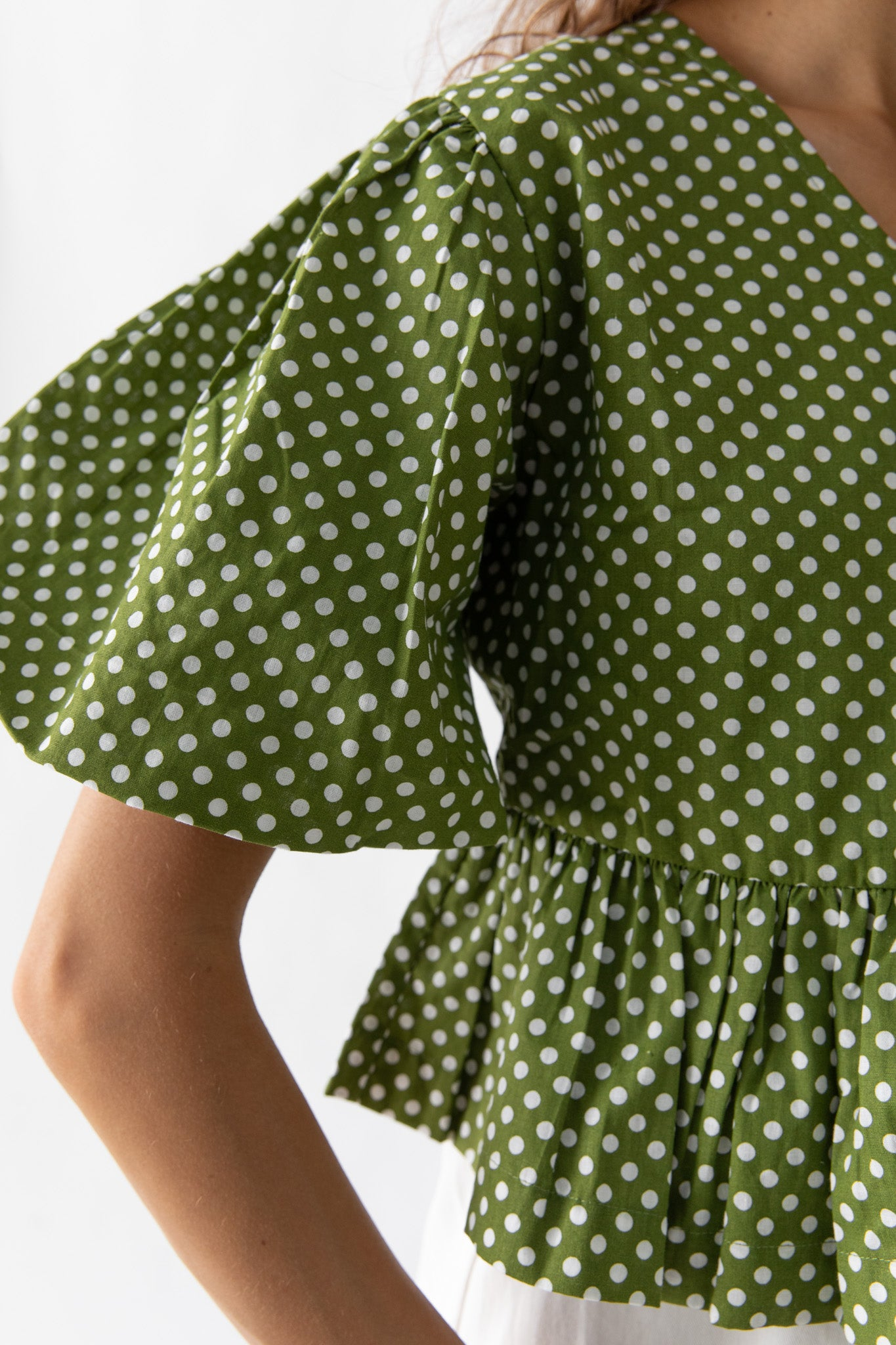 KAYO WRAP TOP - GREEN POLKA DOT
