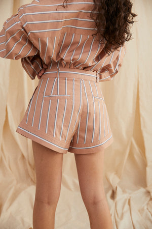 Chandler shorts - Tan stripe.