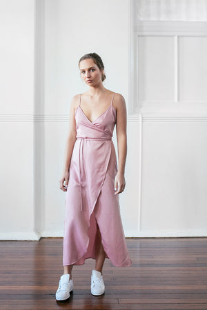 ORDEN WRAP DRESS - BLUSH PINK