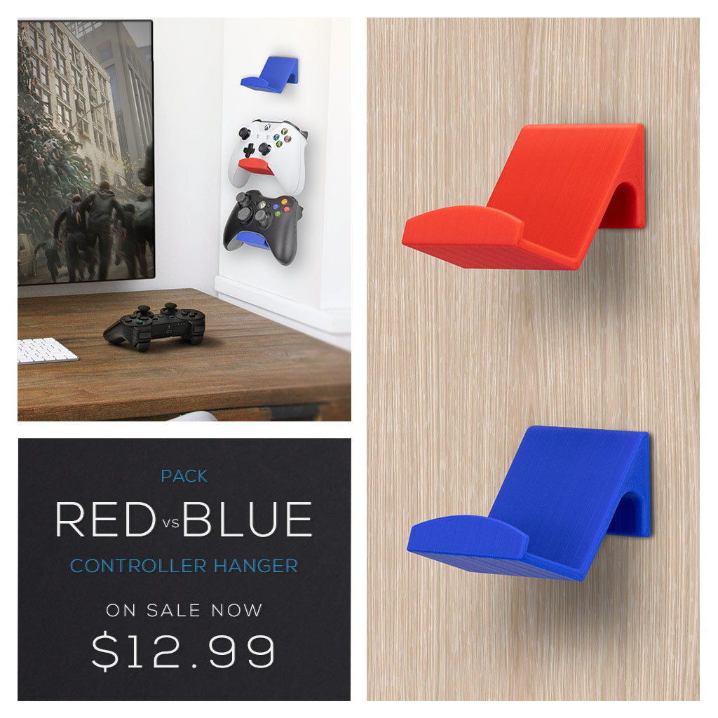 Brainwavz Red and Blue XBOX game controller console hangers