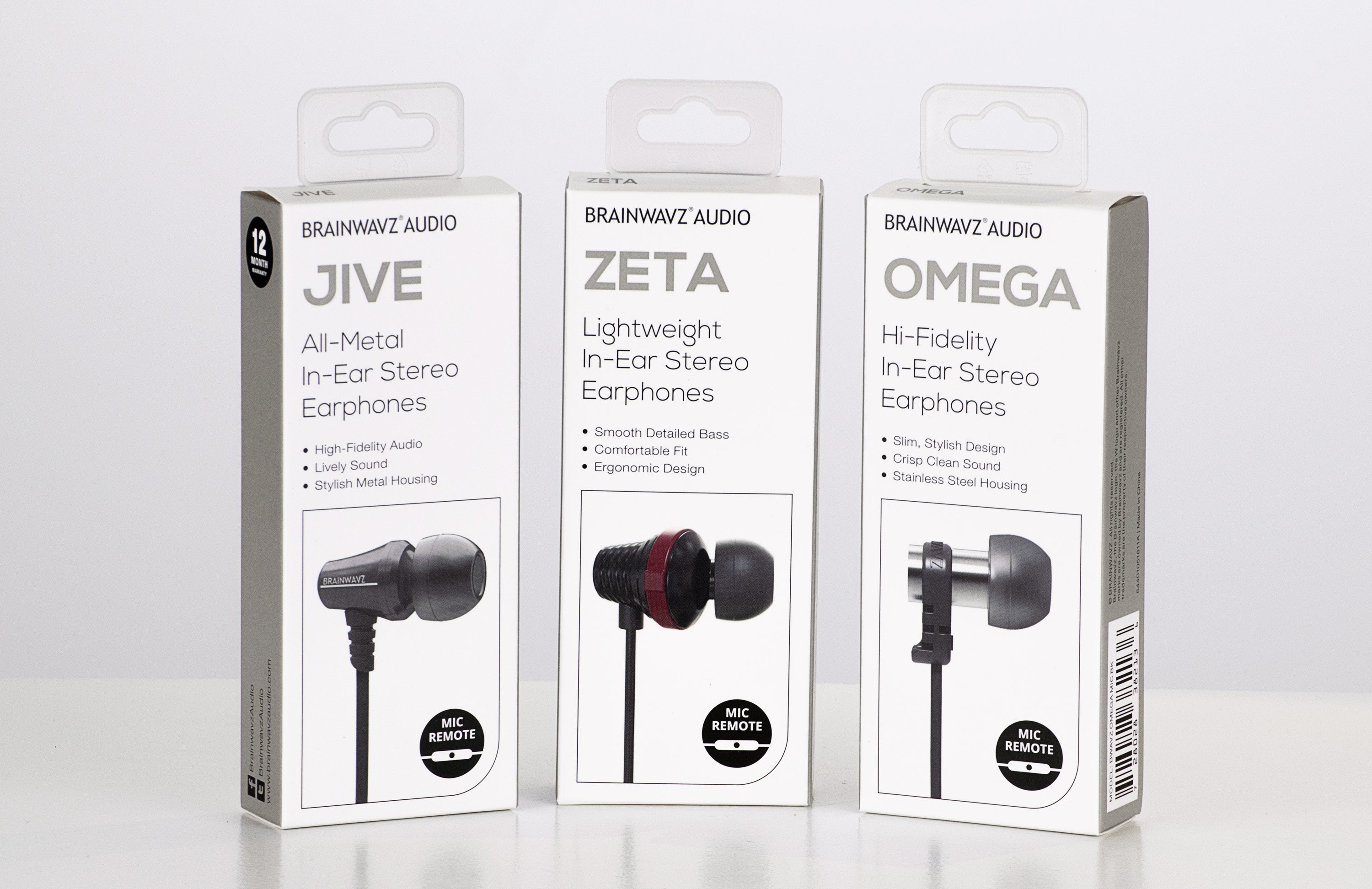 Image showing updated packaging for Brainwavz Jive, Zeta and Omega