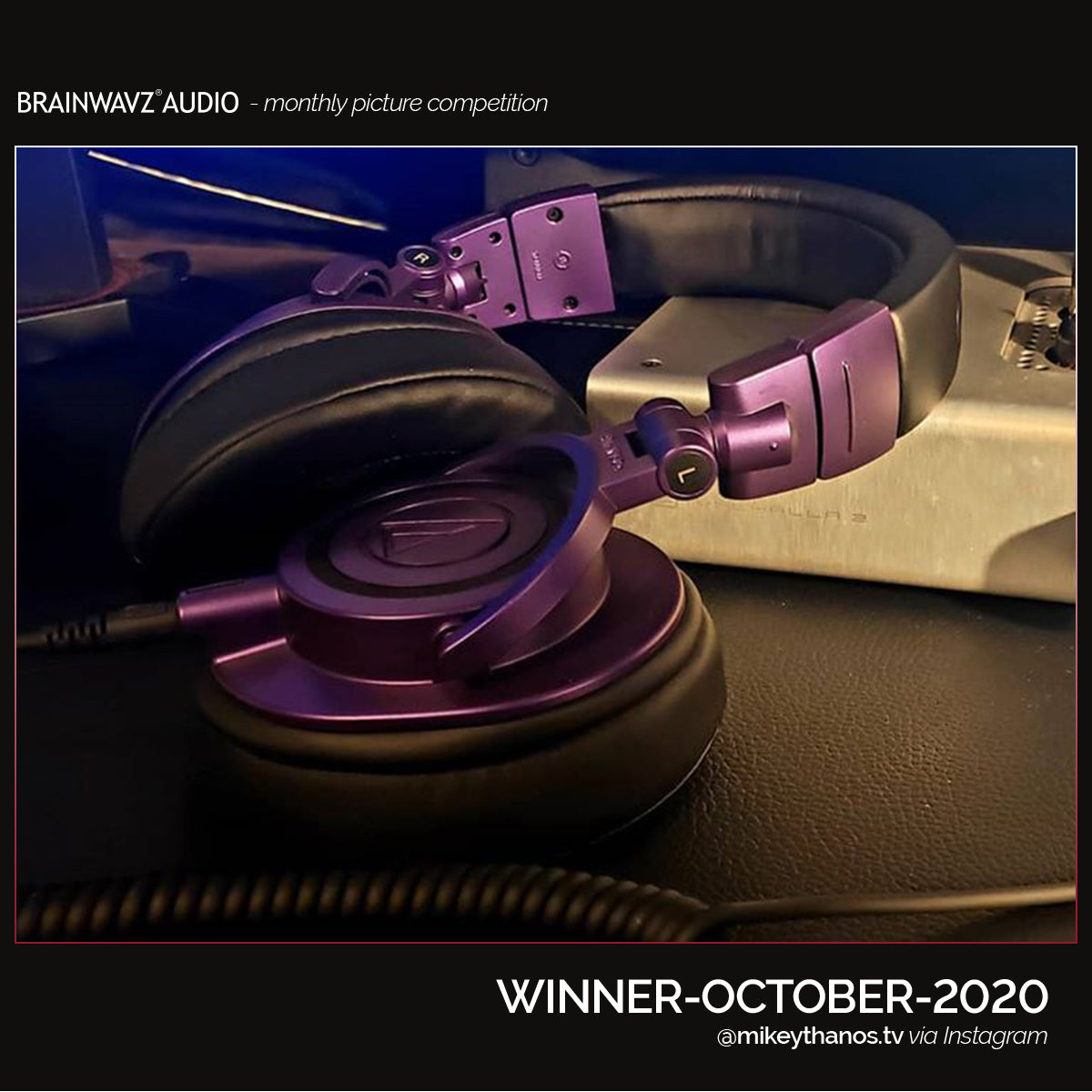 Audi Technica ATHM50 in purple with Brainwavz oval earpads
