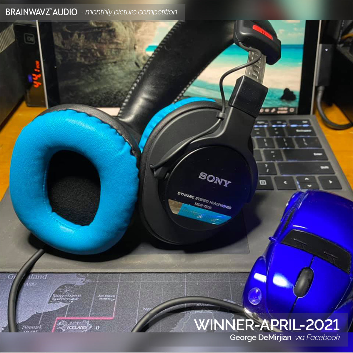 Winning photo - Brainwavz monthly photo comp - Sony MDR7506 with Brainwavz turquoise earpads