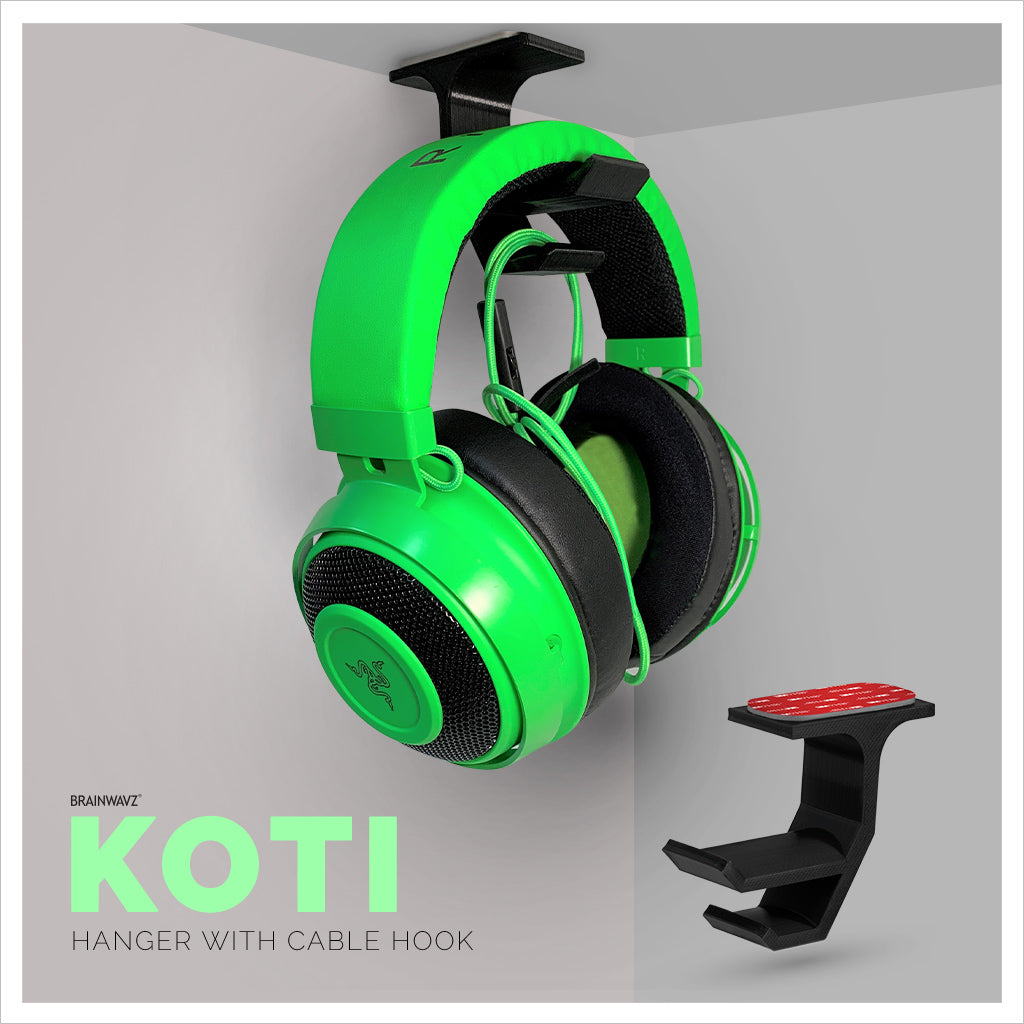 Koti - Under hanger for headphones with integrated cable hook