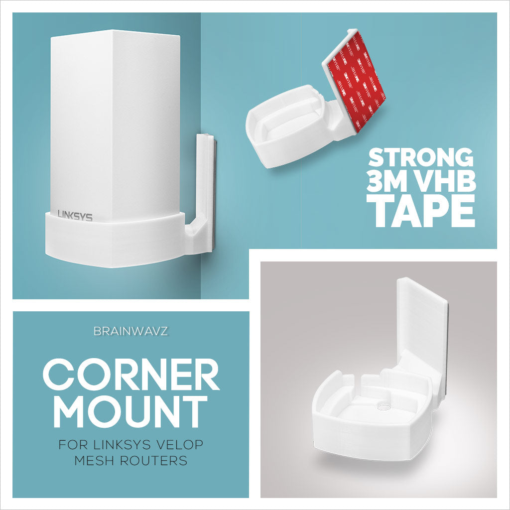 New corner mount for Linksys Velop mesh routers - By Brainwavz
