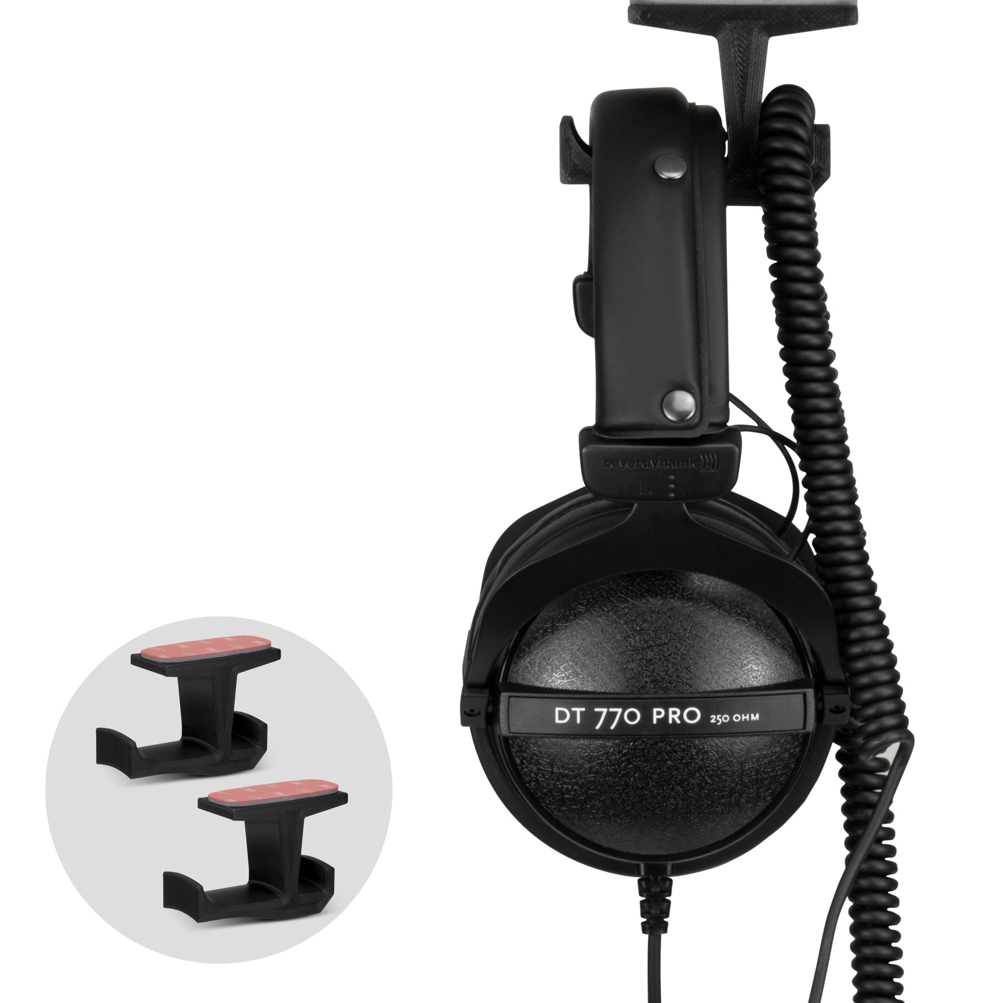BigJ - Under Desk Headphone Hanger and Cable Organiser - 2 Pack