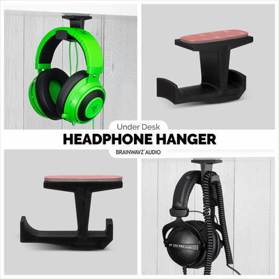Big-J : Under Desk Headphone Hanger and Cable Organiser - Twin Packs
