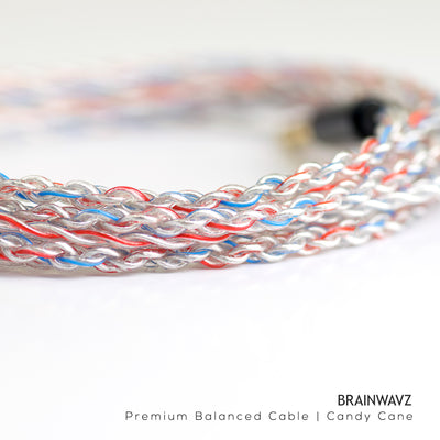 Candy Cane Silver Plated Balanced Cable with MMCX Connector (2.5mm Jack)