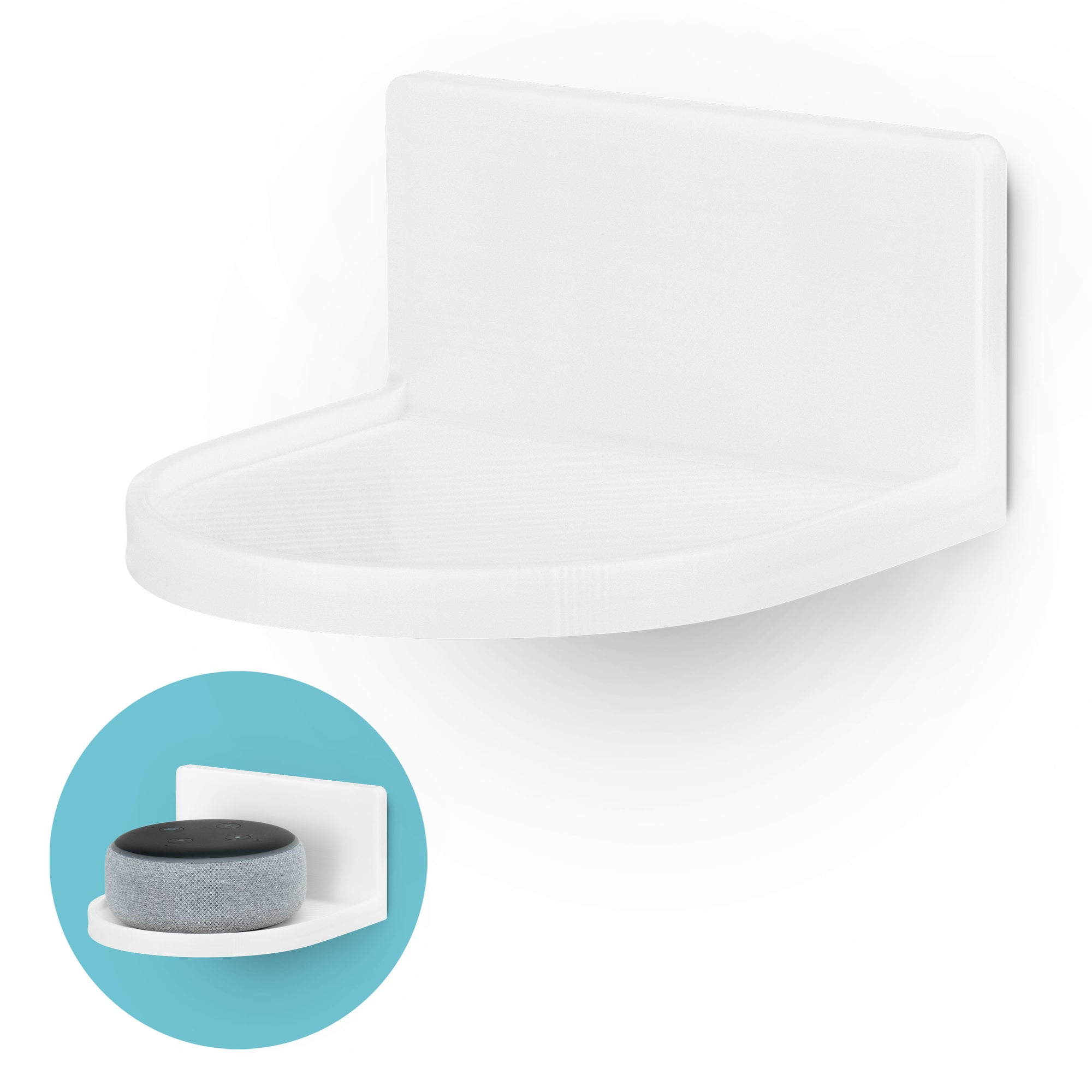 "Screwless Round Floating Shelf (CF125) for Security Cameras, Baby Monitors, Speakers, Plants & More (118mm / 4.6"" x 108mm / 4.2"")"