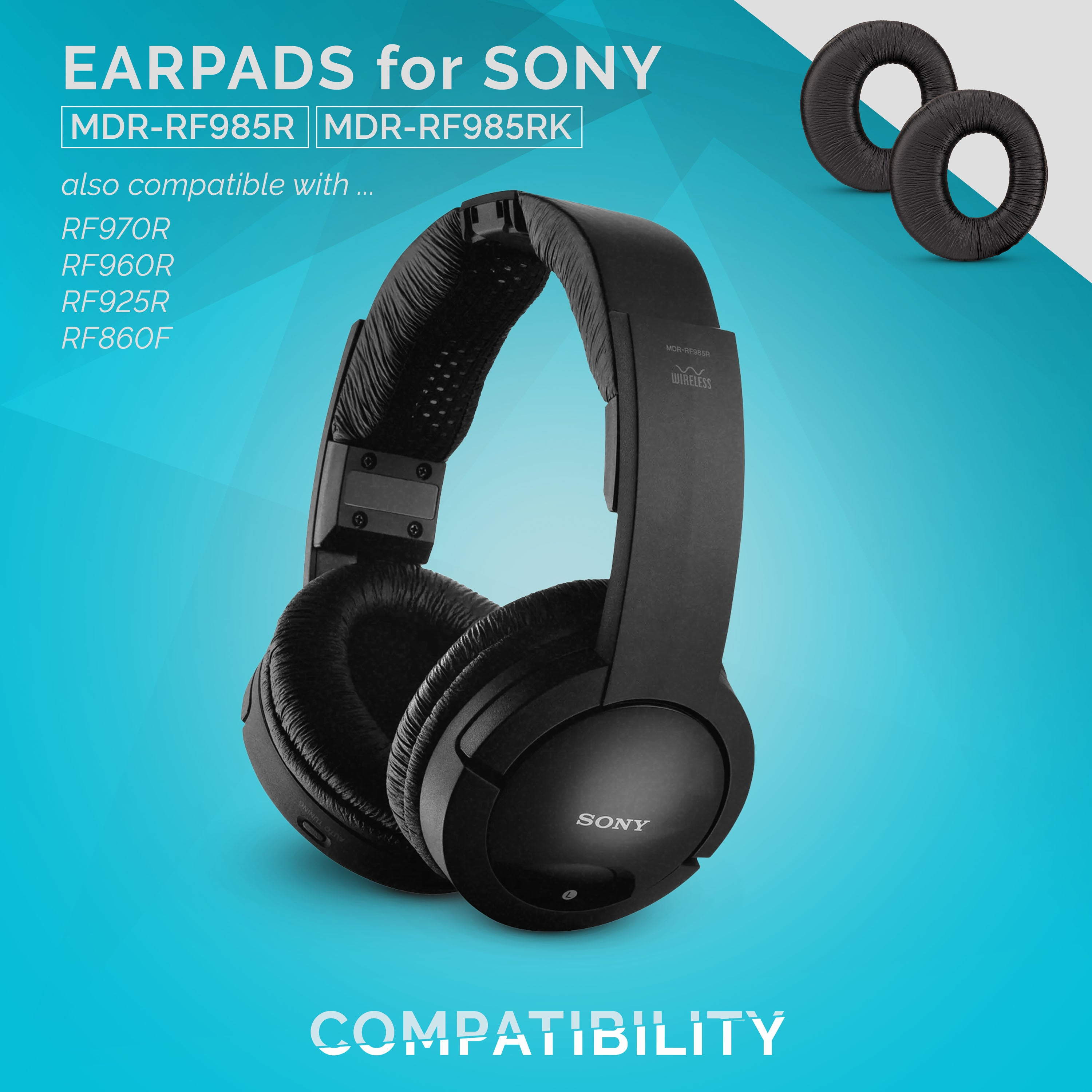 Softer Leather WC Replacement Ear Pads for Sony MDR-RF985R RF970 RF970RK RF960RK RF960R RF925RK Headphones Black Enhanced Noise Isolation Added Thickness Luxurious Memory Foam